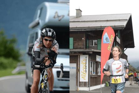 Nadine auf der Radstrecke und Laufstrecke beim Inferno 2014